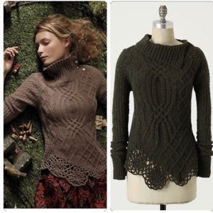 Anthro Moth | med | cabled pathways pullover